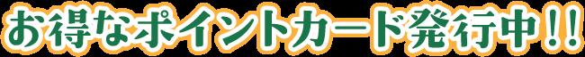 お得なポイントカード発行中!!
